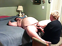 Homemade scene with my blonde mature wife giving me a handjob