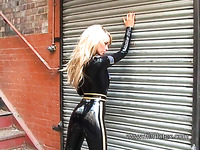 Horny and sexy amateur blonde babe in latex stuff is ready to turn you on