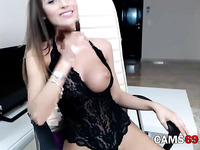 Sexy Brunette with Perfect Tits Masturbates on Webcam