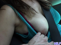 Slutty amateur MILF flashes her nipples and lets buddy rub her clit