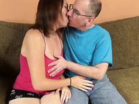 Big titty amateur cutie lets an old man pound her cunt
