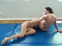 academywrestling.com | female fighting with scissors, arm bars, headlocks and submissions as the loser is d to eat pussy