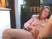 Hot Amateur MILF Rubbing Her Pussy On Balcony