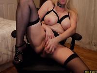 Sexy Mature Mom In Lingerie Using Dildo On Homemade Webcam