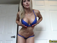 naughty blonde milf dildoing pussy