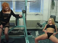 Stunningly busty blonde MILF gets banged by drill dildo