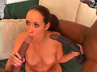 Cute red haired chick with pigtails gives good blowjob to a duo of dudes