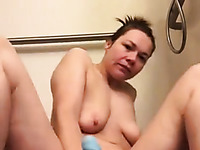 Horny milf masturbating with her huge dildo