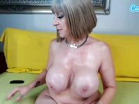 Camsoda - Pussy toying milf pornstar lotions up huge boobs