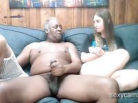 Horny black grandpa fuck two slutty chicks on webcam show