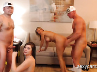 Busty blonde MILF gets anal fucked in hardcore foursome