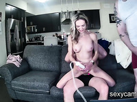 Horny MILF fucked by chubby cuckold husband and his friend