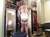 My Slave in BRIDAL SATIN FREDERICKS OF HOLLYWOOD Hook and Eye Corset -- Clip 1 __ HEATH GRUSSING