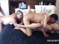 Hardcore swapping foursome with two slutty MILF blondes