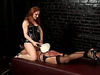 Brutal redhead temptress prepared many tools for her lover