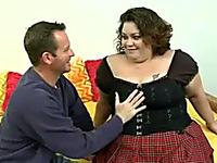 Horny BBW Layla wearing short kilt skirt gets fucked