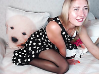 Naughty European stocking girl