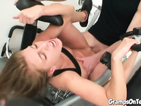 Teen banged by old man cock at the gym