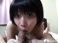 Hairy Asian moans while I destroy her slit