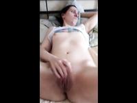 Brunette babe masturbates at home for her lover