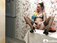 Hot maid in stockings having a quick solo