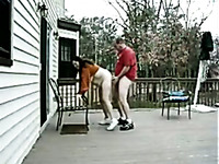 Just my horny mature neighbors on the patio fucking