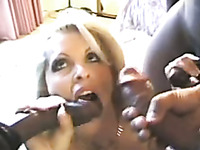My hot blonde wife gets three black men for amateur oral gangbang