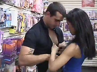 latina super hot chick gets her tight and wet pussy fucked in supermarket