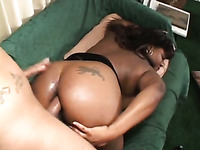 Fat black babe gets her tight pussy penetrated hard