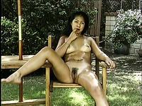 Hawaiian sexy and kinky coed masturbating outside her campus