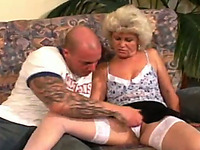Time-worn chubby granny gets her loose twat poked by young cock