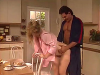 House wife gets fucked hard and nice in her pussy from behind