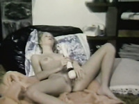 Slim and sexy blonde babe with hairy pussy masturbates with a vibrator