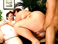Horny guy is so turned on for two BBW redhead sluts