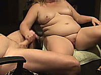 My fat mature blonde wife lending me a hand on webcam