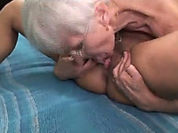 Two whorish sapphic grannies have a passionate 69 fuck