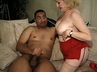 Fat white granny takes large black cock deep in her pussy