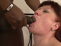 Old white slut gets her mouth banged hard by large fat black cock