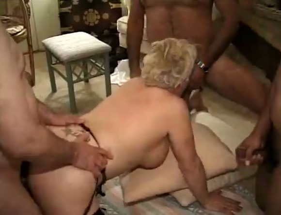 Three Large Cocks Is What This Old Granny Loves To Have At -9569
