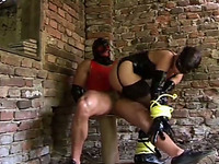 Sexy babe Nadya with a mask fucks her man in garage