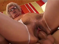 Gross and ugly granny with hairy cunt rides hard dick of handsome young stud